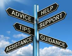 Photo of sign at crossroads: advice / help/ tips / support / assitance / guidance